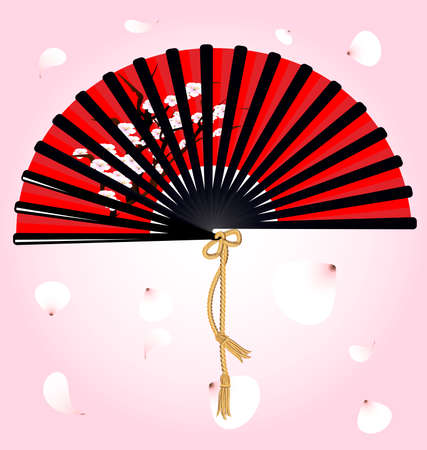 against flying petals large red-black fan with a picture of the cherry blossoms Vector