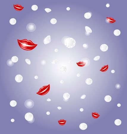 luxo: on purple background falling diamonds, flashing and smiling red lips