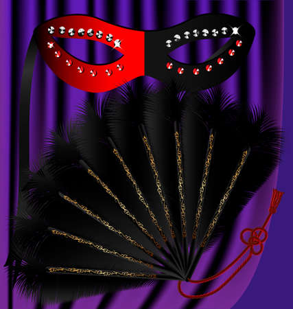 felicitate: against the backdrop of a purple curtain black and red half mask decorated with sequins and a black feather fan, with a gold pattern Illustration