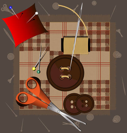 drawing pin: against the background of a piece of cloth sewing accessories: buttons, needles, thread, pins, scissors