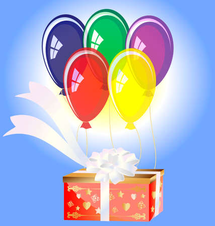 felicitate: in the sky on balloons flying big red gift box