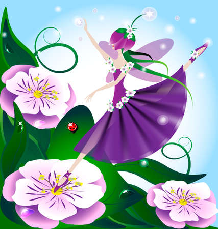 pixie: against the backdrop of huge purple flowers and green grass, lilac fairy, the creative magic