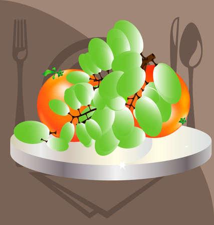 cookware: tel�n de fondo una gran sucursal de uvas y dos naranjas en una bandeja de plata de utensilios de cocina