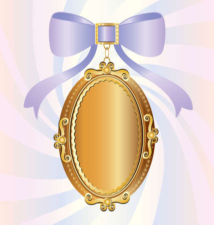 on an abstract background of a big gold locket, decorated with large lilac bow Stock Vector - 8882791