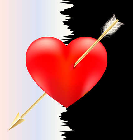on a black-white background a big scarlet heart pierced by a golden arrow Vector