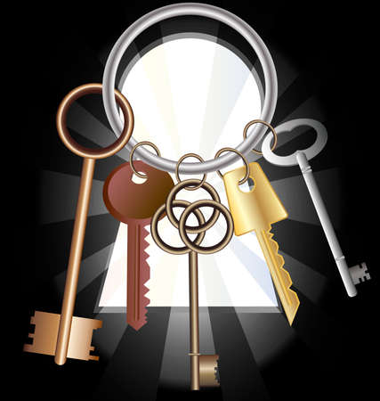 configurations: against the background of a large keyhole bunch of five keys of different configurations