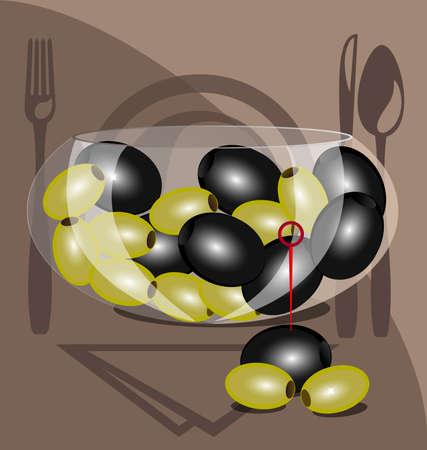 cookware: en el contexto de un gran taz�n transparente con aceitunas verdes y negras de utensilios de cocina
