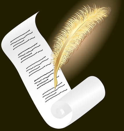 on a dark background a roll of paper and an glowing golden pen Stock Vector - 8882802