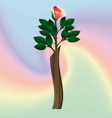 narrow: on an abstract background of a rose in a narrow translucent vase