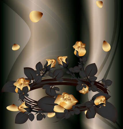 rose bush: on an abstract background of a black wreath of gold roses