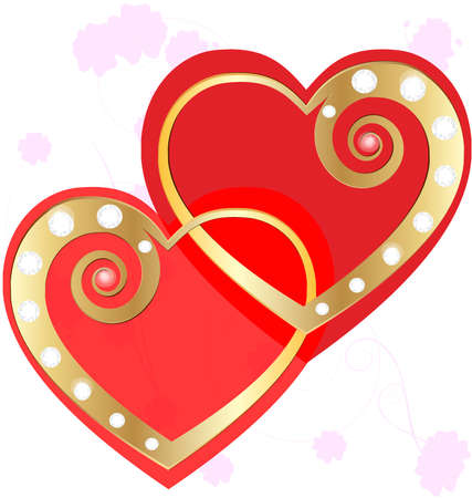 interlocking: on an abstract background of two of red hearts, two gold interlocking hearts, decorated with jewelry