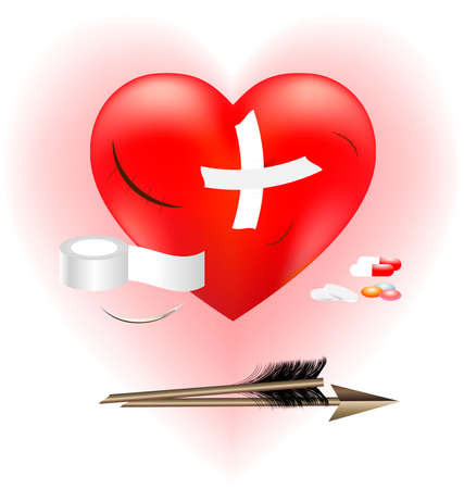 pierced: on a pink-white background a big scarlet heart with a large patch, a broken arm and adhesive, surgical needle, pills