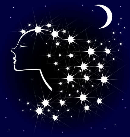 nice hair: in the night sky the moon and the image of a girl, made of stars Illustration