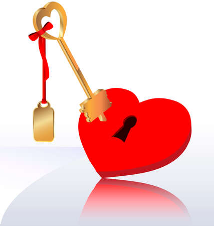 on a light background with a large crimson heart keyhole and a gold key to it with a red ribbon Stock Vector - 8971311