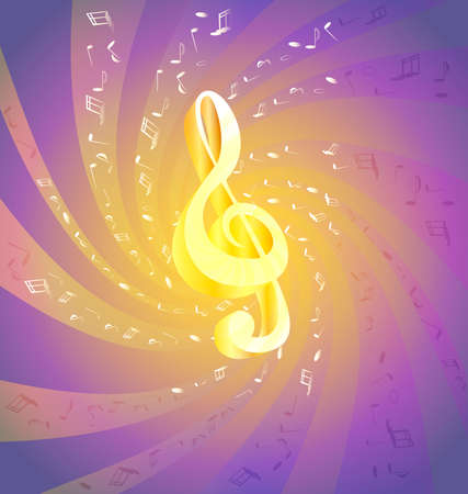 on an abstract background of flying music big golden treble clef Stock Vector - 8971313