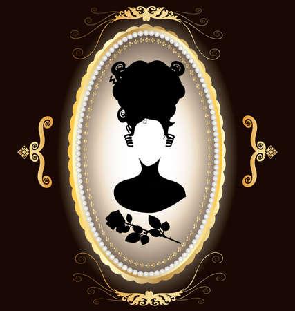 eliptica: el fondo oscuro de adornos de oro y marco-medall�n, en el que una silueta negra de damas y rosas
