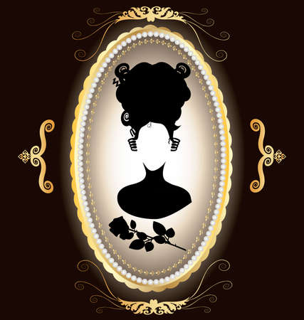 elliptical: the dark background of gold ornaments and frame-locket, in which a black silhouette of ladies and roses