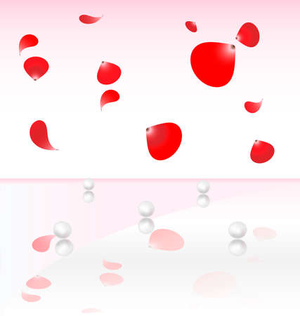 the white-pink background on five of pearls falling from the top red petals Illustration