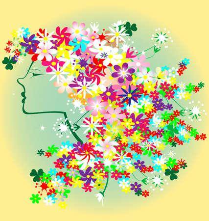 grande e piccolo: sfondo giallo-verde shapes testa di una donna, con i capelli di fiori