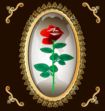 femme seule: the dark background of gold ornaments and frame-locket, in which a half-dark silhouette of ladies and red roses