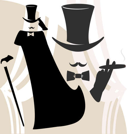 mens clothing: on an abstract light background black silhouette of a gentleman in a raincoat and hat, dark gray outline of his head with a smoking cigar Illustration