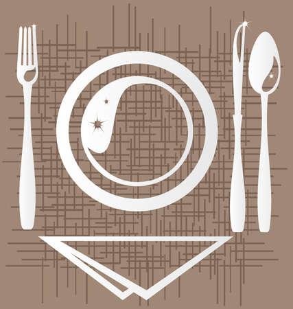 cookware: sobre un fondo abstracto de un contorno estilizado de un comedor unidad: una placa, fork, cuchillo, cuchara y servilleta