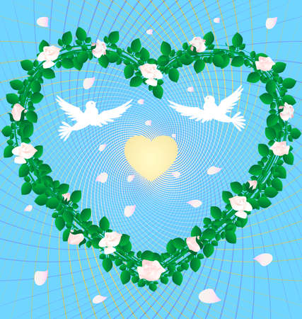 sympathy: on an abstract blue background heart, woven from the roses in the center of two white doves and a golden heart