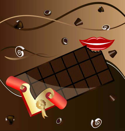 large mouth: on an abstract background in shades of brown, chocolate candy and a big bar of chocolate in a wrapper, next to a smiling mouth Illustration