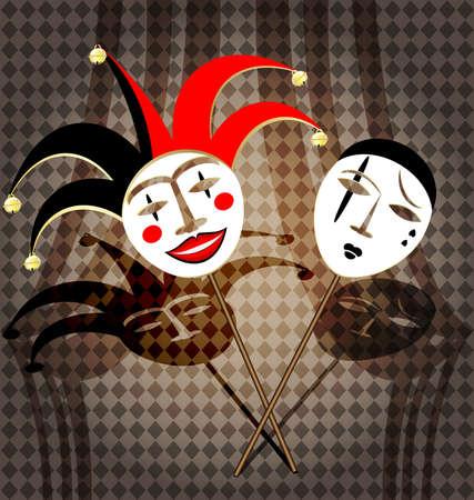 two masks clown Vector
