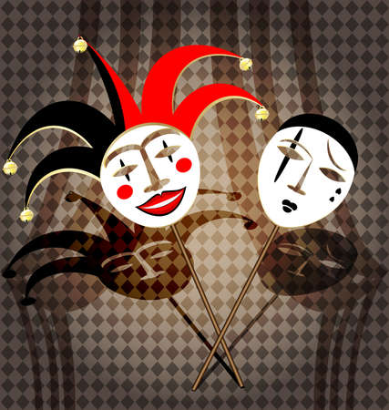 comedy and tragedy: two masks clown