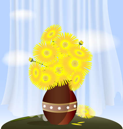 against the blue sky behind a transparent curtain on the table is a vase with large yellow flowers Vector