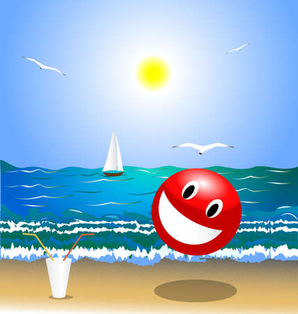 summer landscape: beach, sea, sun and seagulls. In the foreground smiling big red ball and a glass of cocktail tubes Vector