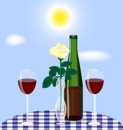 against the blue sky on the table a vase with a rose, two glasses and a bottle of red wine Illustration