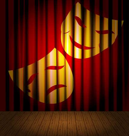 na tle czerwonej kurtyny - teatralne maski, teatralna scena