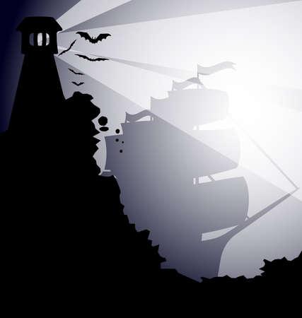 old boat: a dark gothic landscape - on the black rock lighthouses, flying bats, the fog comes up sailing ship