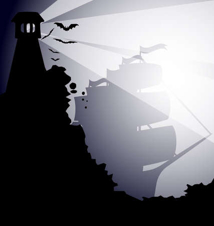 a dark gothic landscape - on the black rock lighthouses, flying bats, the fog comes up sailing ship
