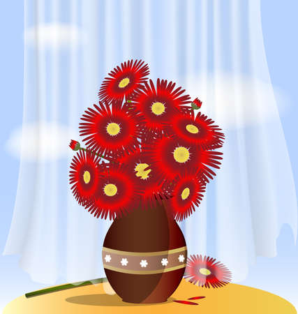 against the blue sky behind a transparent curtain on the table is a vase with large red flowers Stock Vector - 9197874