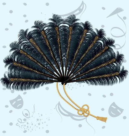on an abstract background of the carnival a big fan of black feathers, decorated with ornaments and ribbon