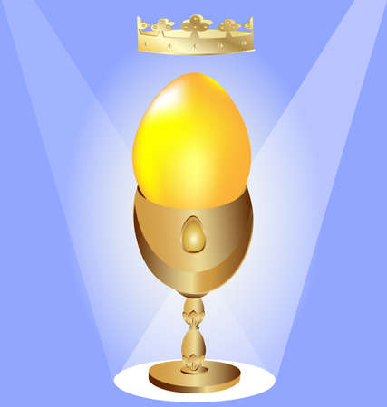 on a blue background golden queen egg with a gold crown on a golden pedestal Vector
