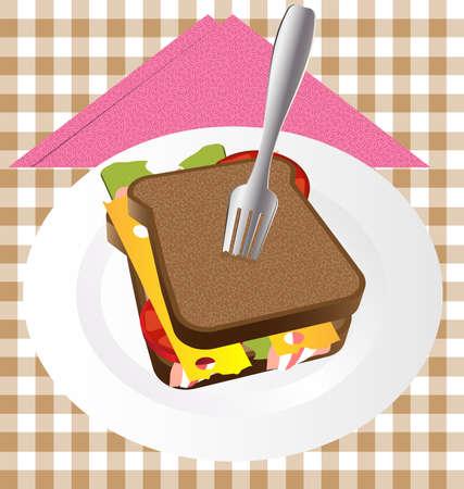 simbol: su un panino delizioso grande piatto bianco con prosciutto, formaggio, pomodoro e lattuga