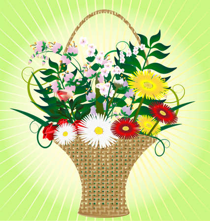 stilllife: on an abstract yellow-green background large wicker basket with colored flowers and herbs