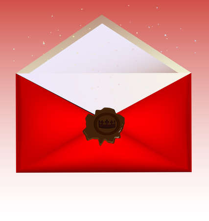 new account: on a light background red envelope with a large wax seal
