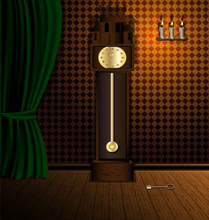 curtian: a darkened room with a green awning on the wooden floor is a large retro clock. three candles on the wall
