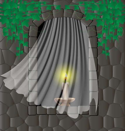 in the stone wall, which are covered with green ivy, arched window, in it for a transparent curtain, candle Vector