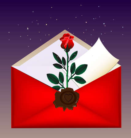 felicitate: on a dark background red envelope with a large wax seal, inside red rose and letter Illustration