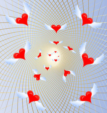 felicitate: on a blue background in a golden mesh a lot of flying crimson hearts Illustration