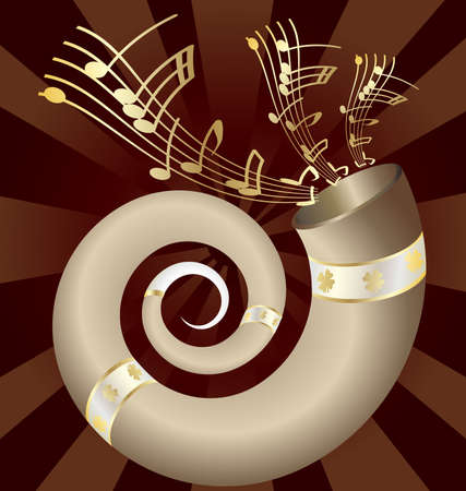 on an dark abstract background musical big horn Stock Vector - 9250629