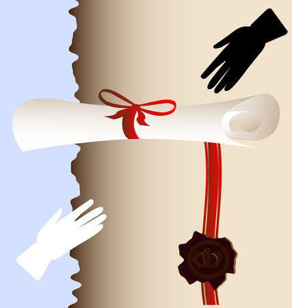 on an abstract background of a large paper scroll with a wax seal on the tape, tied with red ribbon Vector