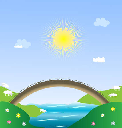 child's: landscape - sun, blue sky, river, bridge and lambs