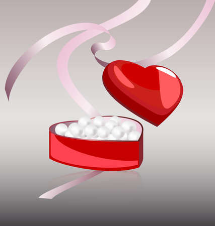 felicitate: on a gray background miniature gift box is a heart-shaped, in it a white pearls around the pink tape